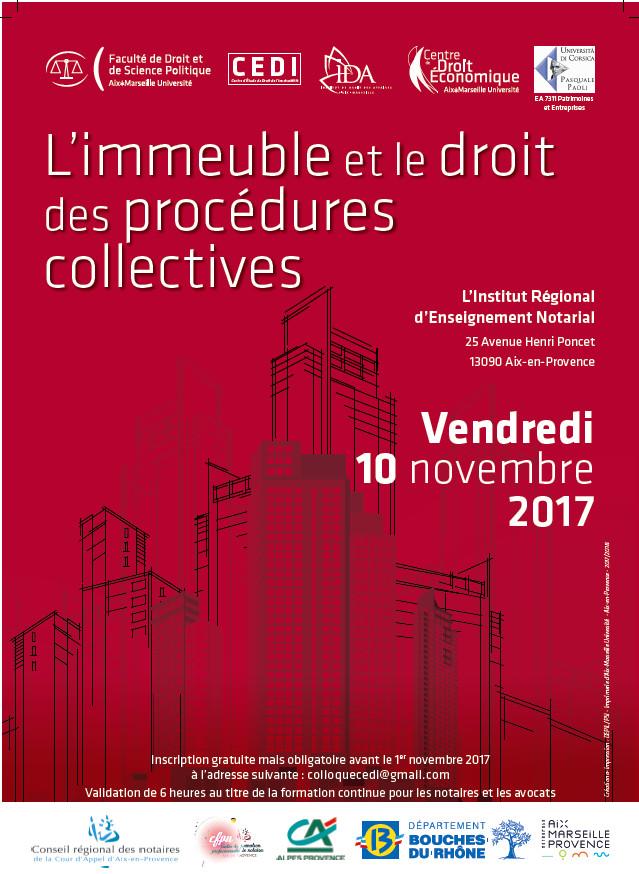 Affiche Colloque l'Immeuble et le Droit des Procédures Collectives