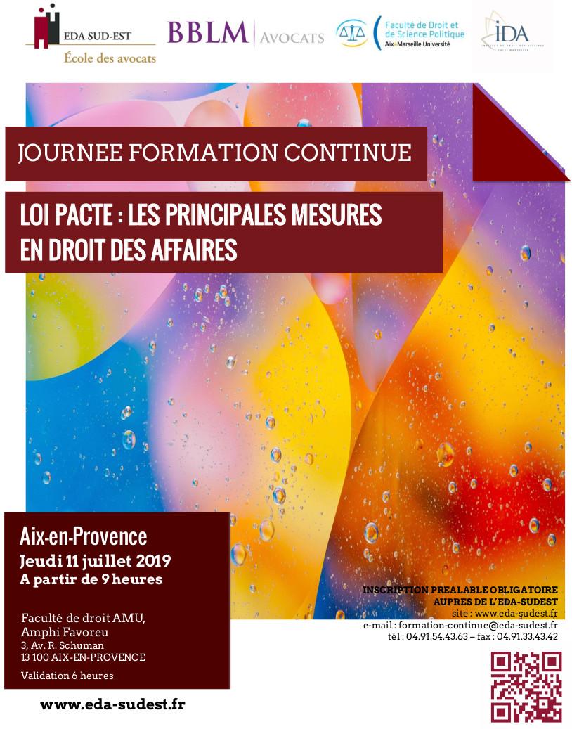 Affiche LOI PACTE Les principales mesures 11/07/2019